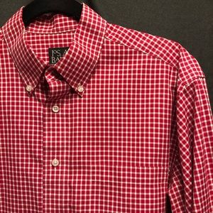 Jos. A. Bank Red Check Men's Casual Dress Shirt M